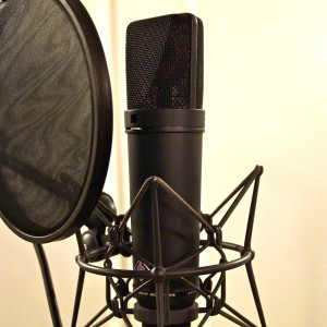 Studio microphone and pop shield